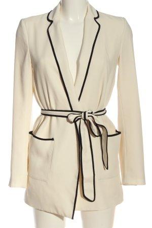 Zara Woman Long-Blazer wollweiß-schwarz Elegant