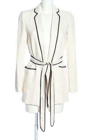 Zara Woman Long-Blazer wollweiß-schwarz Business-Look