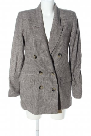 Zara Woman Long-Blazer hellgrau-braun Allover-Druck Business-Look