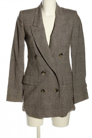 Zara Woman Long-Blazer weiß-braun Karomuster Business-Look