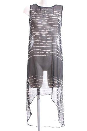 Zara Woman Long-Bluse schwarz-wollweiß Streifenmuster Elegant