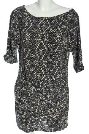 Zara Woman Long-Bluse schwarz-weiß Allover-Druck Casual-Look