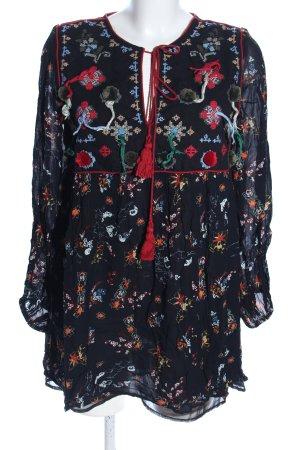 Zara Woman Camicetta lunga nero motivo astratto stile casual