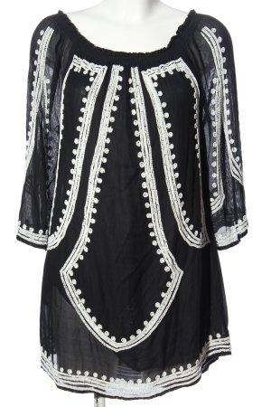 Zara Woman Long-Bluse schwarz-weiß Casual-Look
