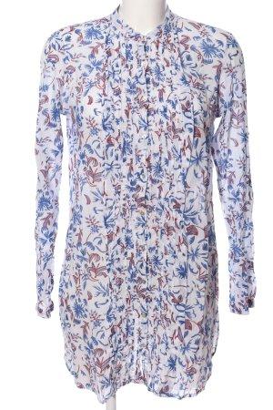 Zara Woman Long-Bluse weiß-blau Allover-Druck Business-Look