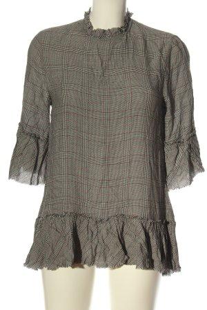 Zara Woman Long-Bluse hellgrau-schwarz Allover-Druck Elegant