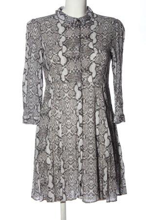 Zara Woman Long-Bluse hellgrau-schwarz Allover-Druck Casual-Look