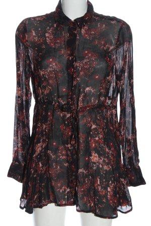 Zara Woman Long-Bluse schwarz-rot Blumenmuster Casual-Look