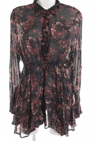 Zara Woman Long-Bluse schwarz-rot abstraktes Muster Casual-Look