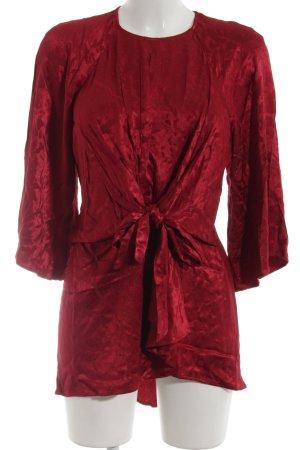 Zara Woman Long-Bluse ziegelrot Stofflagen-Detail