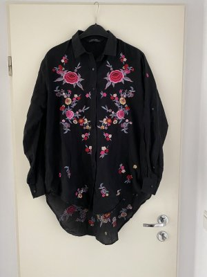 Zara Woman Long Blouse black-pink