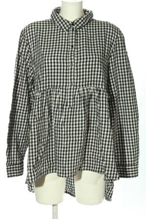Zara Woman Blusa de manga larga blanco-negro estampado a cuadros look casual