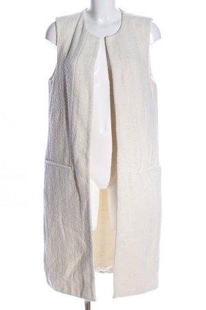 Zara Woman Gilet long tricoté blanc cassé style décontracté