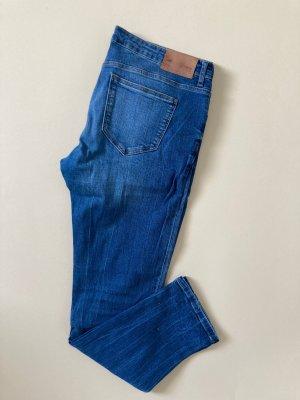 Zara woman Low Rise Skinny Fit Jeans 42 44 Denim Blau Mittelblau Strech Slim Hose