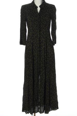 Zara Woman Maxikleid khaki-schwarz Allover-Druck Elegant