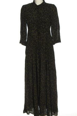 Zara Woman Maxikleid khaki-schwarz Allover-Druck Casual-Look