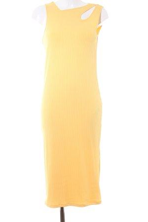 Zara Woman Maxikleid dunkelgelb Streifenmuster Casual-Look