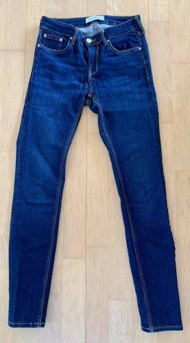 Zara Woman Mid-Waist Skinny fit Jeans dunkelblau Casual-Look