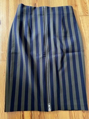 Zara Woman Spódnica midi zielono-szary-ciemnoniebieski