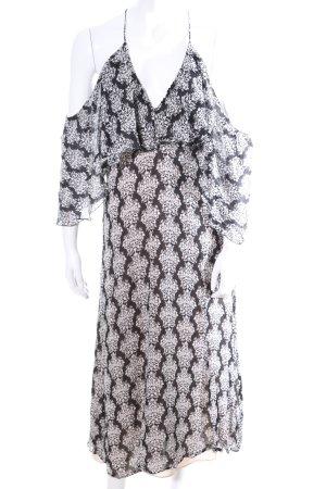 Zara Woman Midikleid schwarz-weiß Allover-Druck Casual-Look
