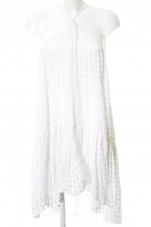 Zara Woman Midikleid weiß-hellgrau Allover-Druck Casual-Look