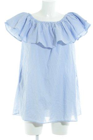 Zara Woman Midikleid weiß-himmelblau Streifenmuster Casual-Look