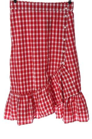 Zara Woman Spódnica midi czerwony-biały Wzór w kratkę W stylu casual