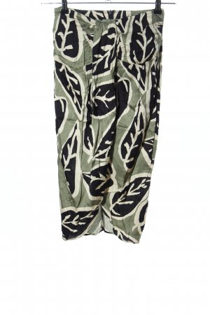Zara Woman Midirock khaki-schwarz Allover-Druck Casual-Look