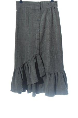 Zara Woman Spódnica midi jasnoszary-czarny Na całej powierzchni