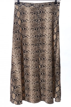Zara Woman Midirock schwarz-creme Animalmuster Casual-Look