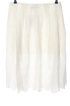Zara Woman Falda de encaje blanco look casual