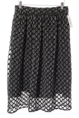 Zara Woman Midirock schwarz-weiß Ornamentenmuster Casual-Look