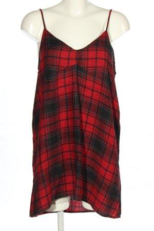 Zara Woman Minikleid schwarz-rot Karomuster Casual-Look