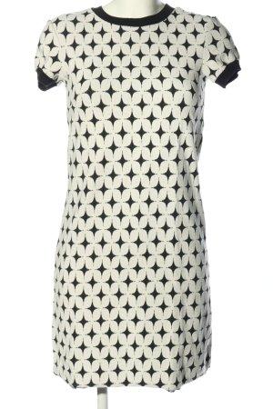 Zara Woman Minikleid weiß-schwarz abstraktes Muster Casual-Look