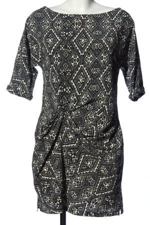 Zara Woman Minikleid schwarz-creme Allover-Druck Casual-Look
