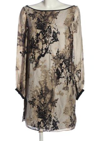 Zara Woman Minikleid wollweiß-schwarz abstraktes Muster klassischer Stil