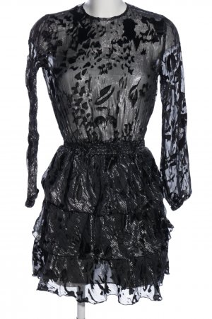 Zara Woman Minikleid schwarz-silberfarben abstraktes Muster Elegant
