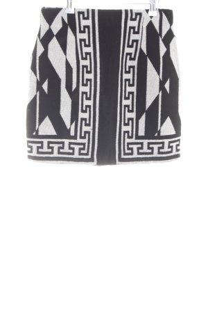 Zara Woman Minirock schwarz-hellgrau grafisches Muster Casual-Look