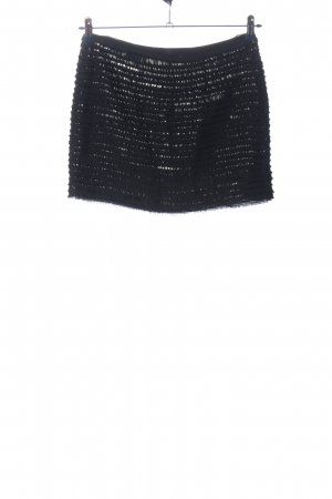 Zara Woman Minirock schwarz-silberfarben Streifenmuster Casual-Look