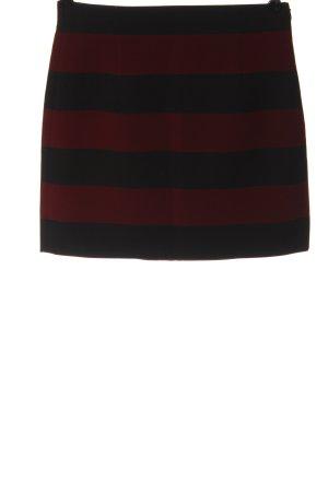 Zara Woman Minirock schwarz-rot Streifenmuster Casual-Look