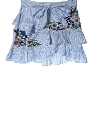 Zara Woman Minirock blau-weiß Streifenmuster Casual-Look