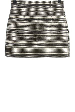 Zara Woman Minirock schwarz-wollweiß Allover-Druck Casual-Look