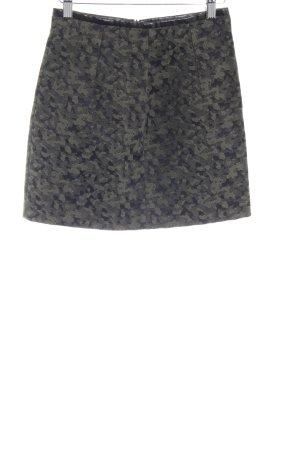 Zara Woman Minirock dunkelgrün-schwarz abstraktes Muster Materialmix-Look