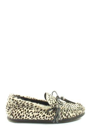 Zara Woman Mocasines negro-blanco puro estampado de leopardo look casual