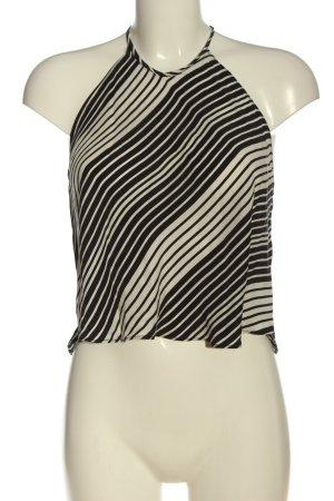 Zara Woman Top z dekoltem typu halter biały-czarny Na całej powierzchni