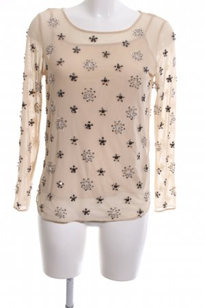 Zara Woman Netzshirt creme Motivdruck Casual-Look