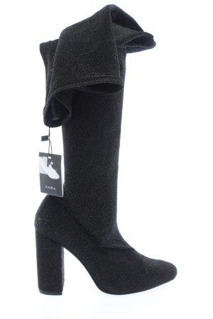 Zara Woman Overknees hellgrau meliert Casual-Look