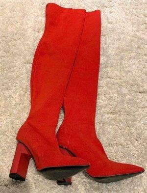 Zara Woman Kniehoge laarzen rood