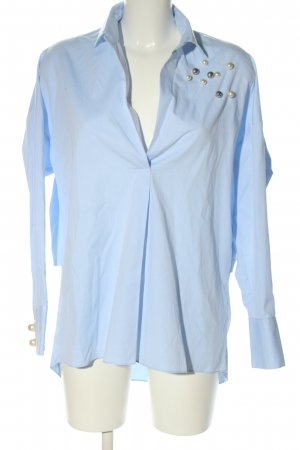 Zara Woman Oversized Bluse blau Business-Look
