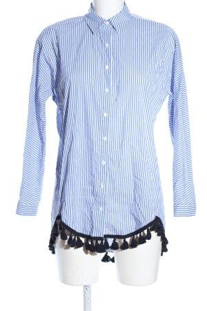 Zara Woman Oversized Bluse blau-weiß Streifenmuster Casual-Look